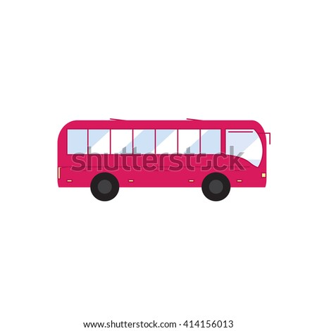 Bus. Icon bus in flat style. Pink bus.Vector bus. - stock vector