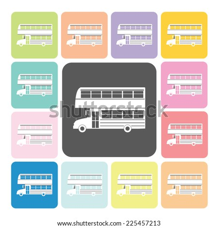Bus Icon color set vector illustration. - stock vector