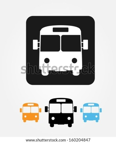 Bus icons set - stock vector