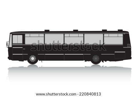 Bus silhouette on a white background. Vector illustration. - stock vector
