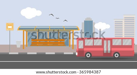 Bus station - stock vector