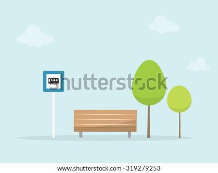 Bus stop - stock vector