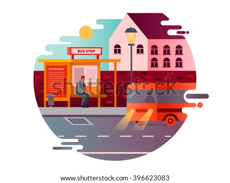 Bus stop design flat - stock vector