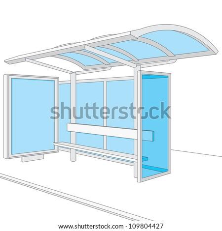 Bus Stop. Empty Design Template for Branding. Vector Illustration - stock vector