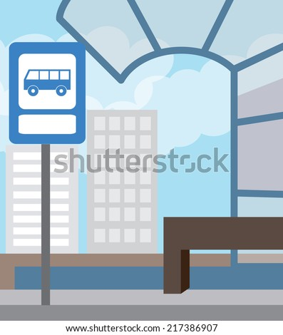 Bus stop for school bus. Back to school (vector illustration, flat concept) - stock vector
