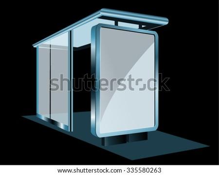 Bus Stop Glass Billboard - stock vector