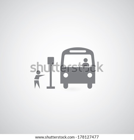 Bus symbol on gray background  - stock vector