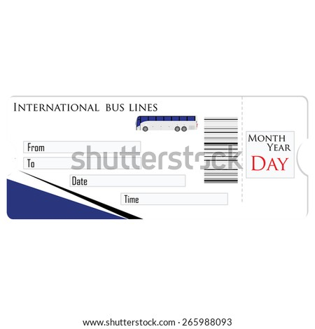 Bus ticket vector isolated, travel ticket, blank ticket - stock vector