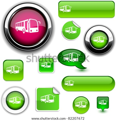 Bus vector glossy icons. - stock vector