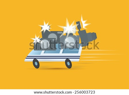 Bus with tourists - stock vector