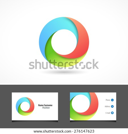 Business abstract circle icon 3d in vector format - stock vector