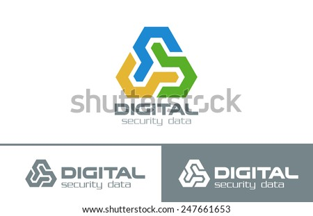 Business Abstract Infinity Looped Triangle Logo design vector template. Multifunctional Triple Corporate Technology Logotype concept icon. - stock vector
