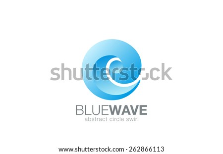 Business Abstract Swirl Water Wave Sphere Logo design element vector template. Aqua splash Logotype eco natural concept. Surfing emblem. Sea Ocean Travel icon.  - stock vector