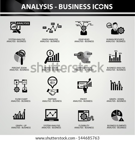 Business Analysis concept icons,Black version,vector - stock vector