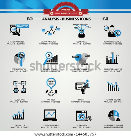 Business Analysis concept icons,Blue version,vector - stock vector