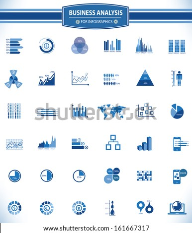 Business Analysis concept,36 icons,for infographics design,Blue version,vector - stock vector