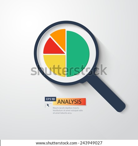 Business analysis magnifying glass icon.Vector flat style illustration - stock vector