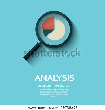 Business Analysis symbol with magnifying glass icon and pie chart. Eps10 vector illustration - stock vector
