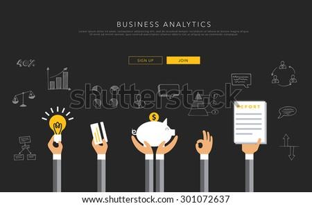 Business analytics flat template, vector on black - stock vector
