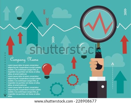 Business analyze concept with magnifying glass - stock vector