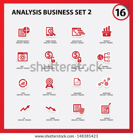 Business and analysis icon set 2,Red version,vector - stock vector