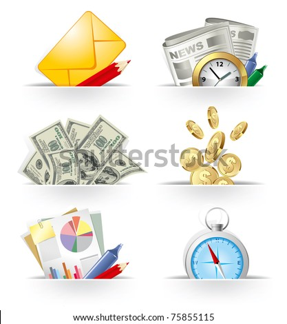 Business and banking icon set - stock vector