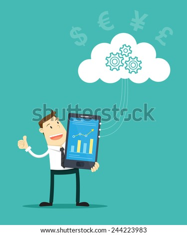 Business And Cloud Computing - stock vector