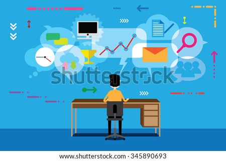 Business and communication concept, flat design. - stock vector