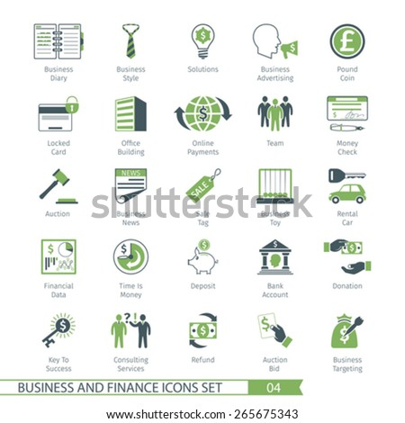 Business and FIinance Icons Set 04 - stock vector