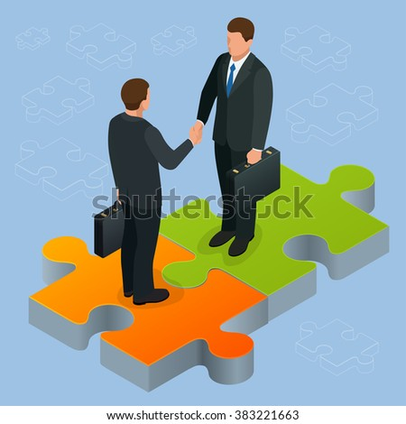 Business and finance concept. Handshake isometric. Partnership flat 3d isometric illustration. Two businessmen shaking hands Business People Corporate Success Concept Concept of business and agreement - stock vector