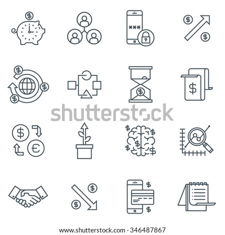 Business and finance icon set suitable for info graphics, websites and print media. Black and white flat line icons. - stock vector