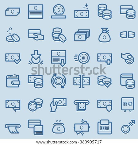 Business and finance icons. Money, finance, banking icons. Line vector style - stock vector