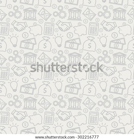 Business and finance seamless pattern. Background with outline icons for business theme. Vector illustration.