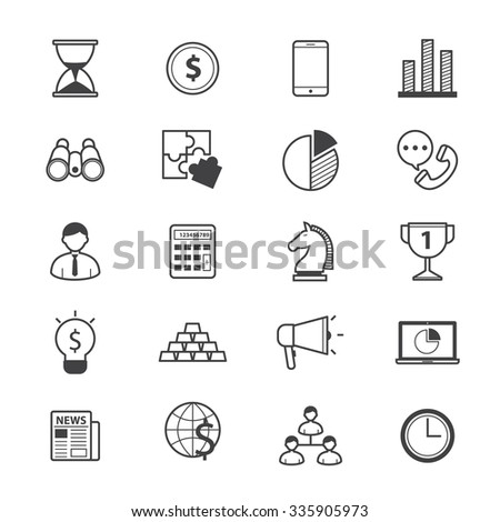 Business and Finance Strategy Icons Line - stock vector