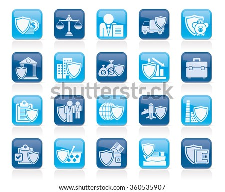Business and industrial insurance icons  - vector icon set - stock vector