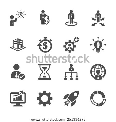 business and management icon set 4, vector eps10. - stock vector