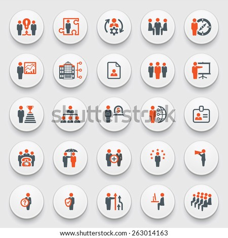 Business and management icons on white buttons. Flat design. - stock vector