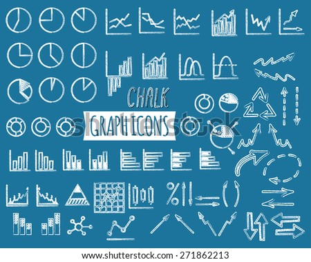 Business and office charts. Chalk edition. Set of thin line graph icons. Outline. Can be used as elements in infographics, logo, in projects. Unusual design. Vector illustration. - stock vector