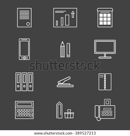 Business and office icon set. Thin line icons. Office supplies. Minimal and clean style. Fax and smartphone, business chart and personal computer, etc. Vector illustration for modern design. - stock vector