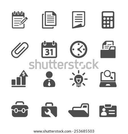 business and office icon set, vector eps10. - stock vector