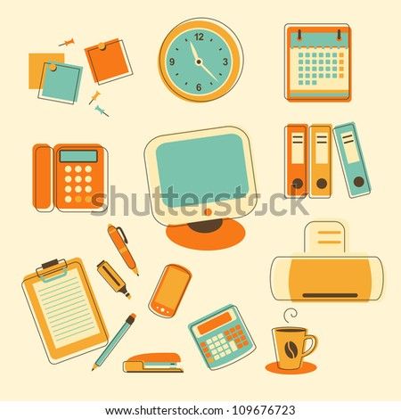 Business and office icons - stock vector