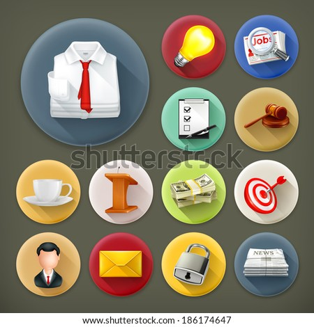 Business and office, long shadow icon set - stock vector