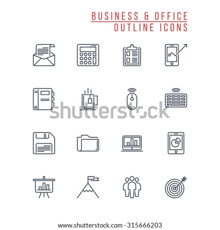 Business And Office Outline Icons - stock vector