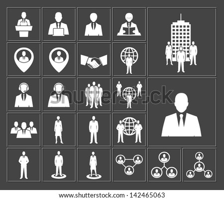 Business and office people, management, human resources vector white icons set - stock vector