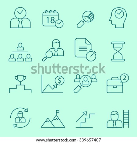 Business and time management icons, thin line design - stock vector