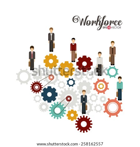 Business and Workforce over white background, vector illustration - stock vector