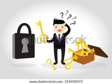 Business are confused to find the key to open the lock. - stock vector