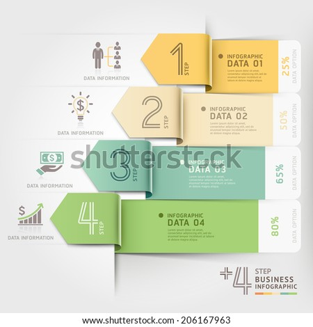 Business arrow infographics template. Vector illustration. can be used for workflow layout, banner, number options, step up options, web design, diagram template. - stock vector