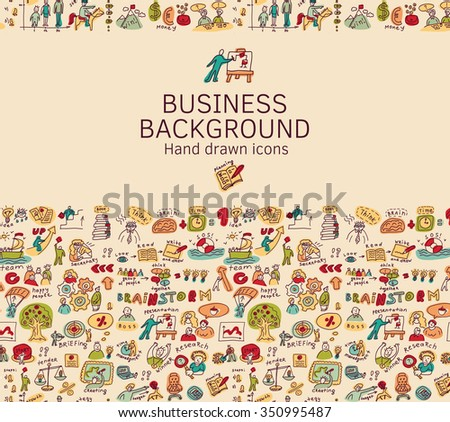 Business background doodles hand drawn color icons.  Empty place for yout text. Color vector illustration. EPS8 - stock vector