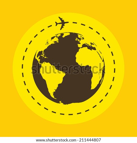 Business background with earth globe and airplane. Vector illustration. Travel concept. - stock vector